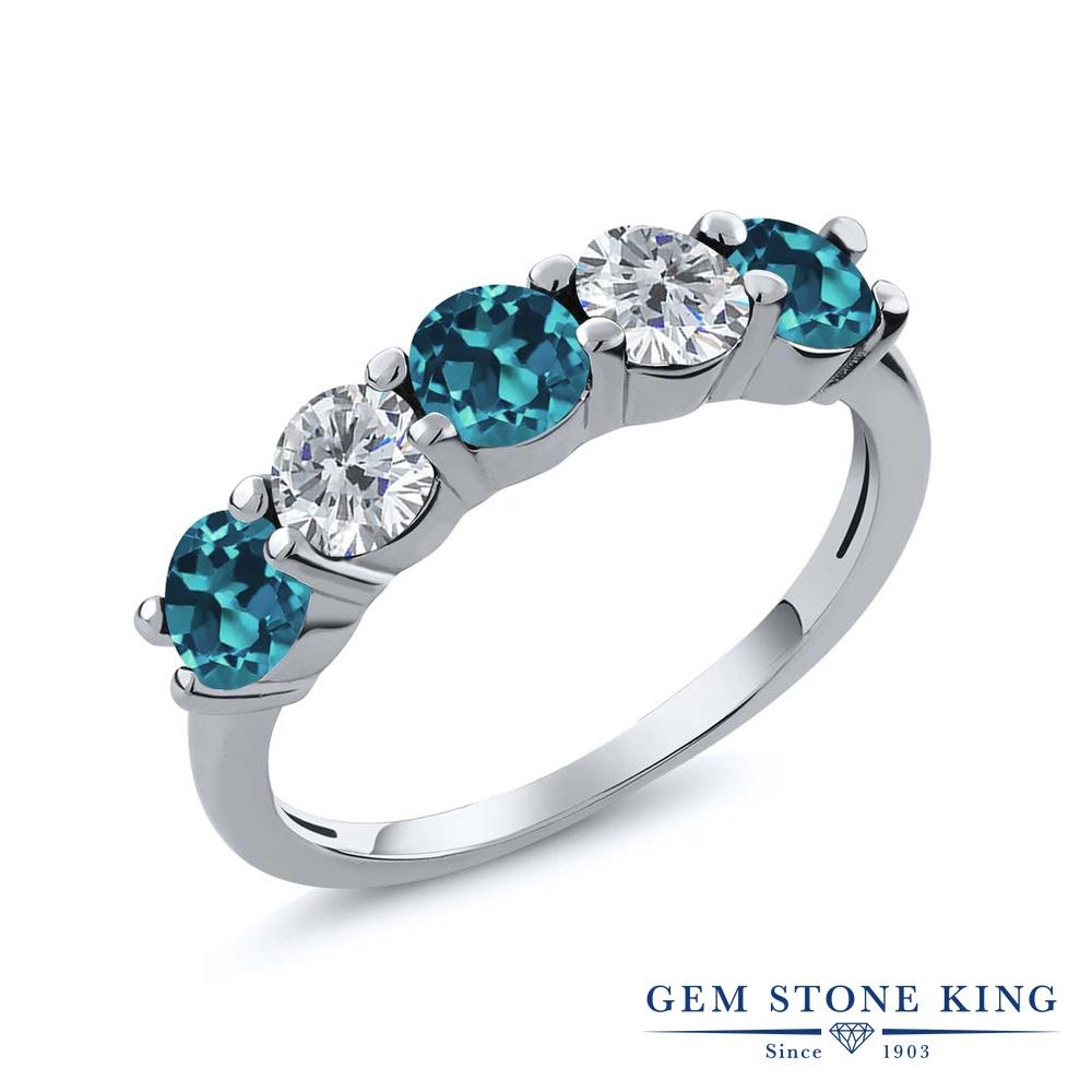 Gem Stone King 0.9カラット 天然 ロンドンブルートパーズ 天然 ダイヤモンド シルバー925 指輪 リング レディース 小粒 ハーフエタニティ 天然石 11月 誕生石 金属アレルギー対応 結婚指輪 ウェディングバンド