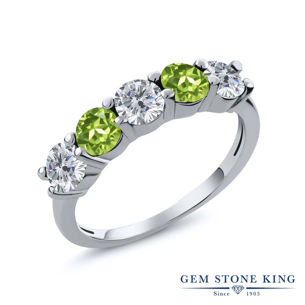 Gem Stone King 0.81カラット 天然 ダイヤモンド 天然石 ペリドット シルバー925 指輪 リング レディース ダイヤ 小粒 ハーフエタニティ 4月 誕生石 金属アレルギー対応 結婚指輪 ウェディングバンド