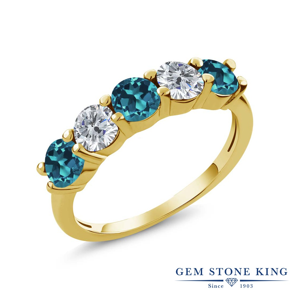 Gem Stone King 0.9カラット 天然 ロンドンブルートパーズ 天然 ダイヤモンド シルバー925 イエローゴールドコーティング 指輪 リング レディース 小粒 ハーフエタニティ 天然石 11月 誕生石 金属アレルギー対応 結婚指輪 ウェディングバンド