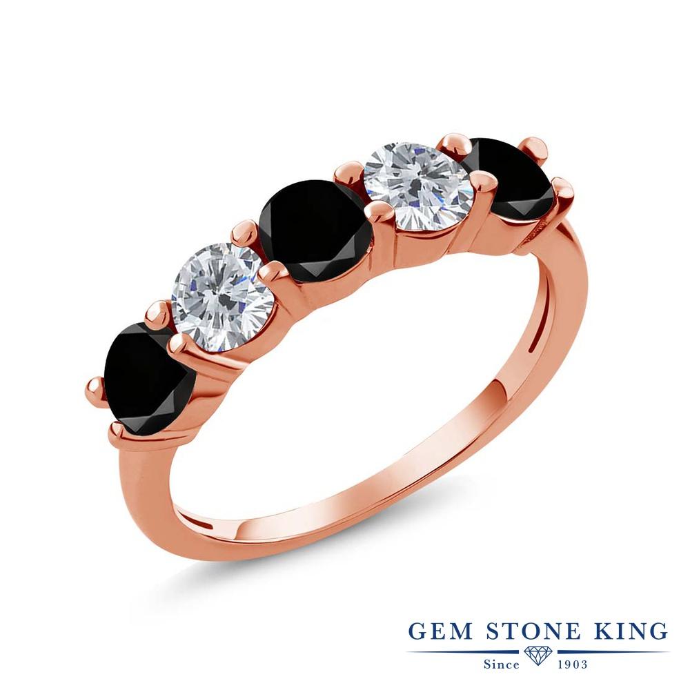 Gem Stone King 0.81カラット 天然ブラックダイヤモンド ダイヤ シルバー925 ピンクゴールドコーティング 誕生石 指輪 4月 リング レディース ブラック ダイヤ 小粒 ハーフエタニティ 天然石 4月 誕生石 金属アレルギー対応 結婚指輪 ウェディングバンド, きもの山喜:098d6b39 --- ww.thecollagist.com