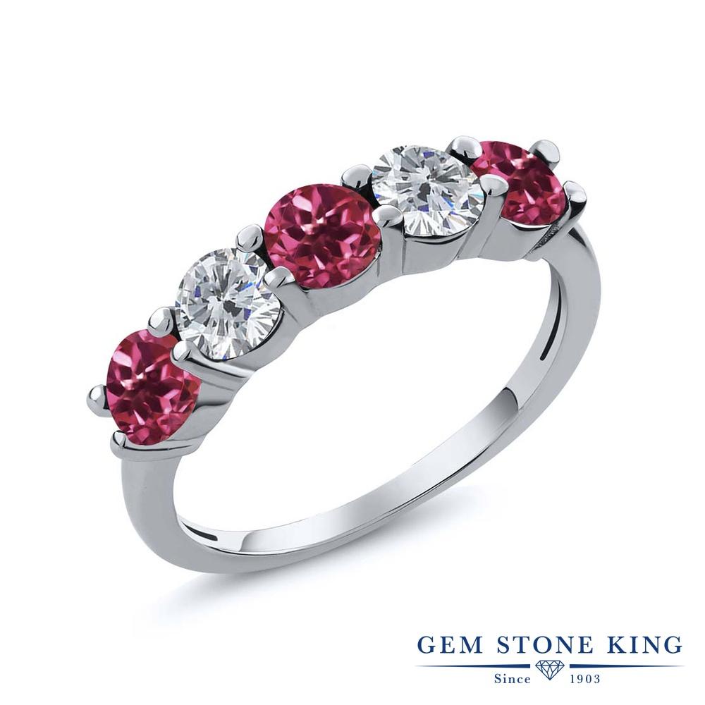 Gem Stone King 0.75カラット 天然 ピンクトルマリン 天然 ダイヤモンド シルバー925 指輪 リング レディース 小粒 ハーフエタニティ 天然石 10月 誕生石 金属アレルギー対応 結婚指輪 ウェディングバンド