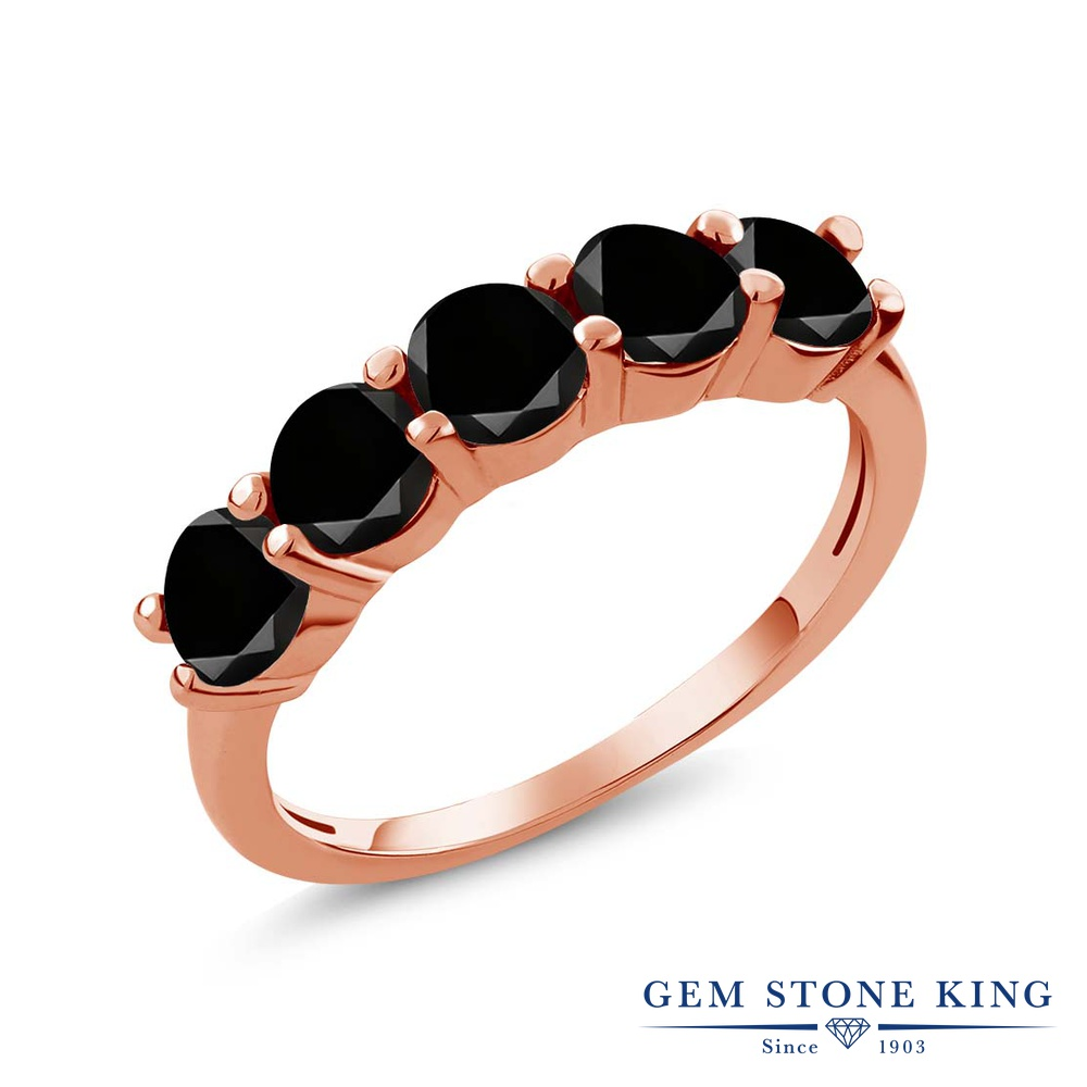 0.85カラット ブラックダイヤモンド 指輪 レディース リング ピンクゴールド 加工 シルバー925 ブランド おしゃれ 5連 ブラック ダイヤ 黒 小粒 ハーフエタニティ 天然石 4月 誕生石 結婚指輪 ウェディングバンド