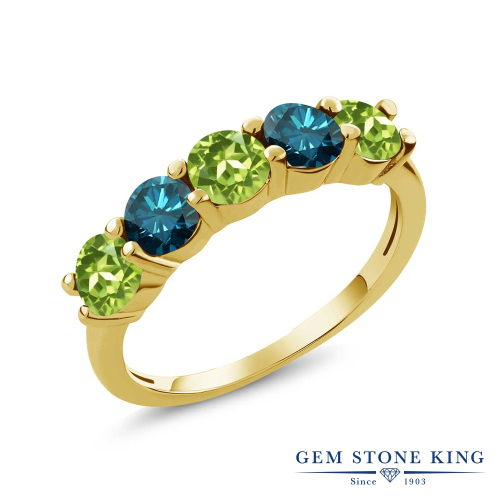 Gem Stone King 0.84カラット 天然石 ペリドット 天然 ブルーダイヤモンド シルバー925 イエローゴールドコーティング 指輪 リング レディース 小粒 ハーフエタニティ 天然石 8月 誕生石 金属アレルギー対応 結婚指輪 ウェディングバンド