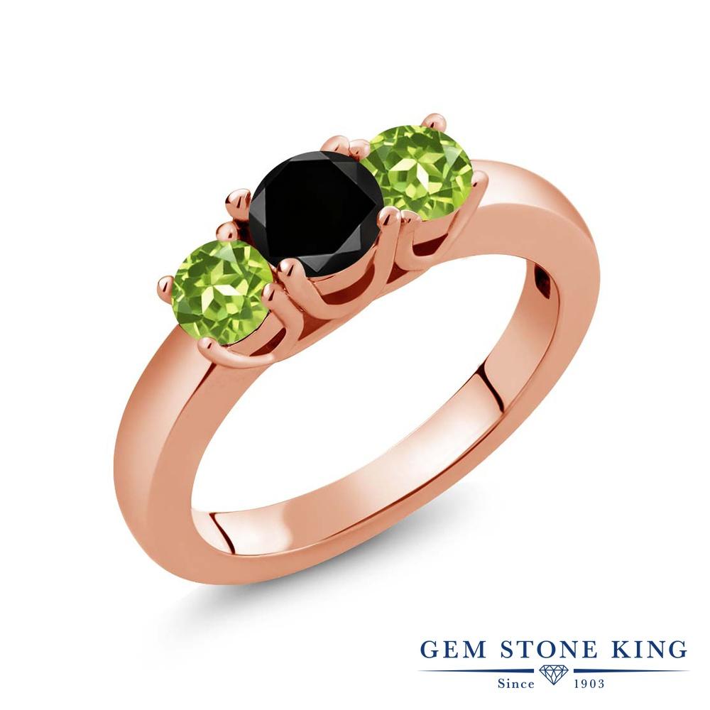1.15カラット ブラックダイヤモンド 指輪 レディース リング 天然石 ペリドット ピンクゴールド 加工 シルバー925 ブランド おしゃれ 3連 ブラック ダイヤ 黒 シンプル スリーストーン 4月 誕生石 プレゼント 女性 彼女 妻 誕生日