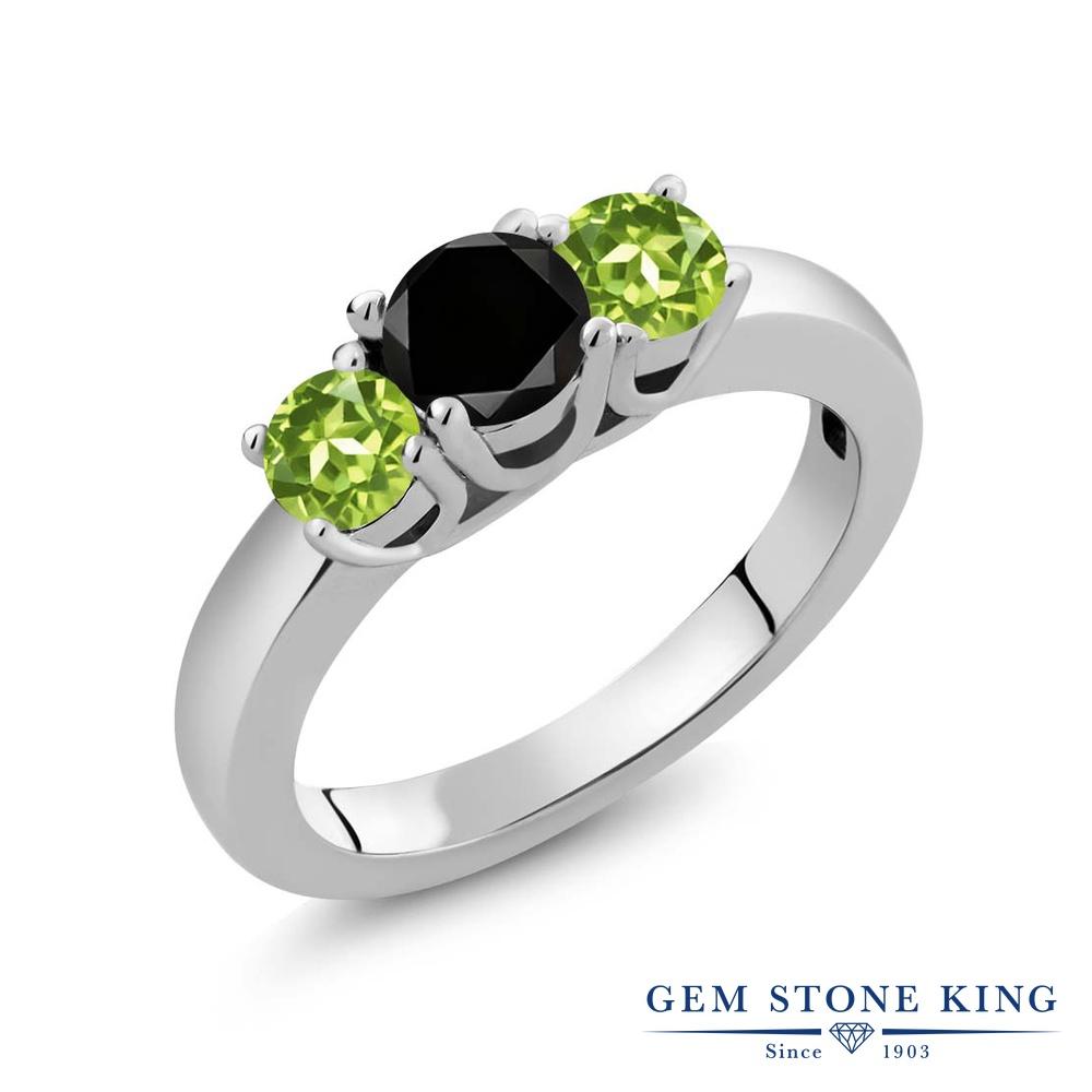Gem Stone King 1.15カラット 天然ブラックダイヤモンド 天然石 ペリドット シルバー925 指輪 リング レディース ブラック ダイヤ シンプル スリーストーン 4月 誕生石 金属アレルギー対応 誕生日プレゼント