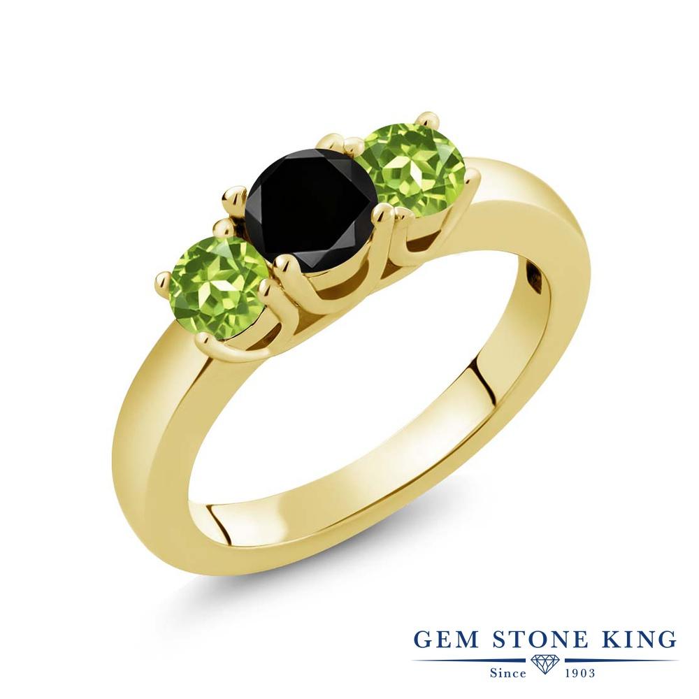 【10%OFF】 Gem Stone King 1.15カラット ブラックダイヤモンド 天然石 ペリドット 指輪 リング レディース シルバー925 イエローゴールド 加工 ブラック ダイヤ シンプル スリーストーン 4月 誕生石 クリスマスプレゼント 女性 彼女 妻 誕生日