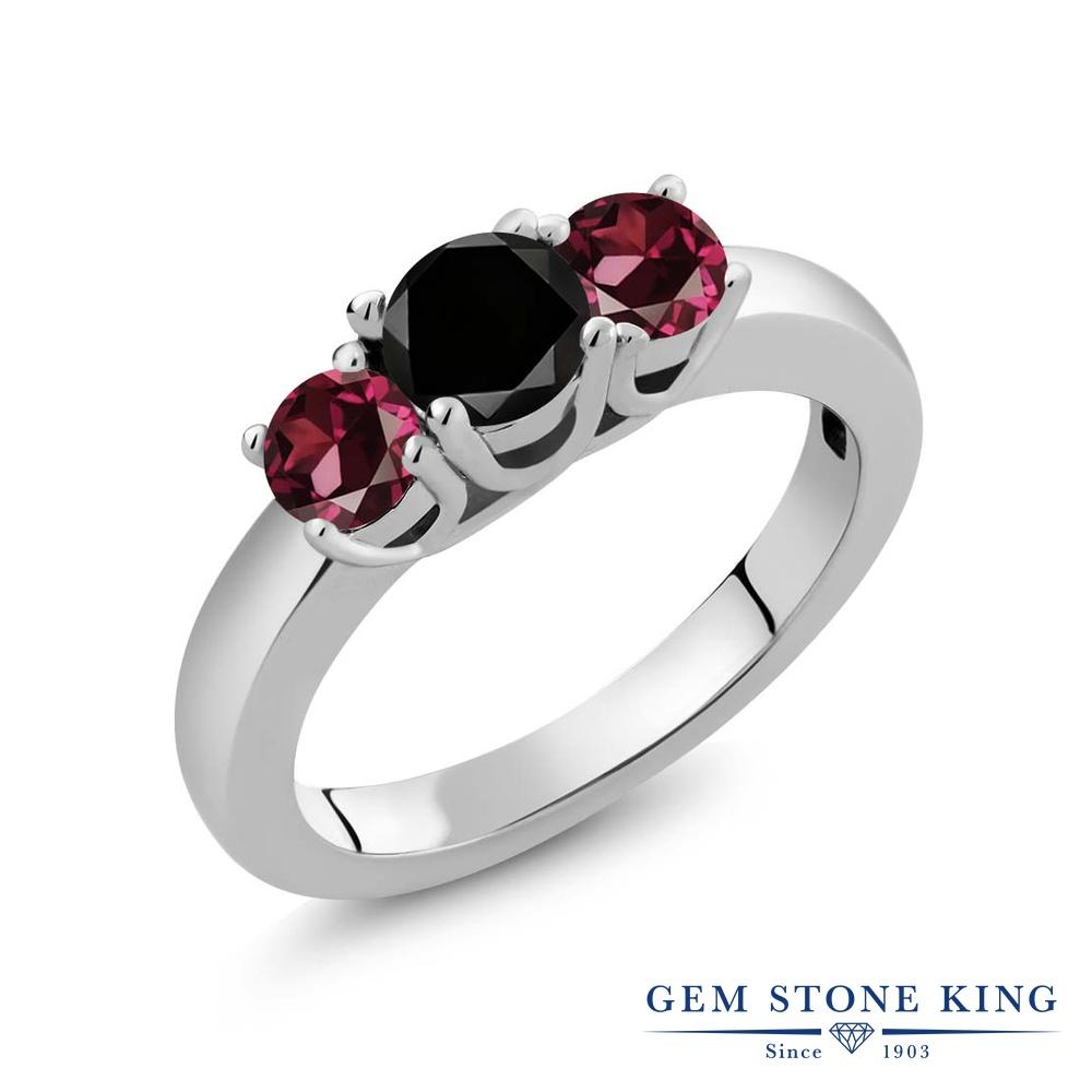 【10%OFF】 Gem Stone King 1.29カラット ブラックダイヤモンド 天然 ロードライトガーネット 指輪 リング レディース シルバー925 ブラック ダイヤ シンプル スリーストーン 天然石 4月 誕生石 クリスマスプレゼント 女性 彼女 妻 誕生日