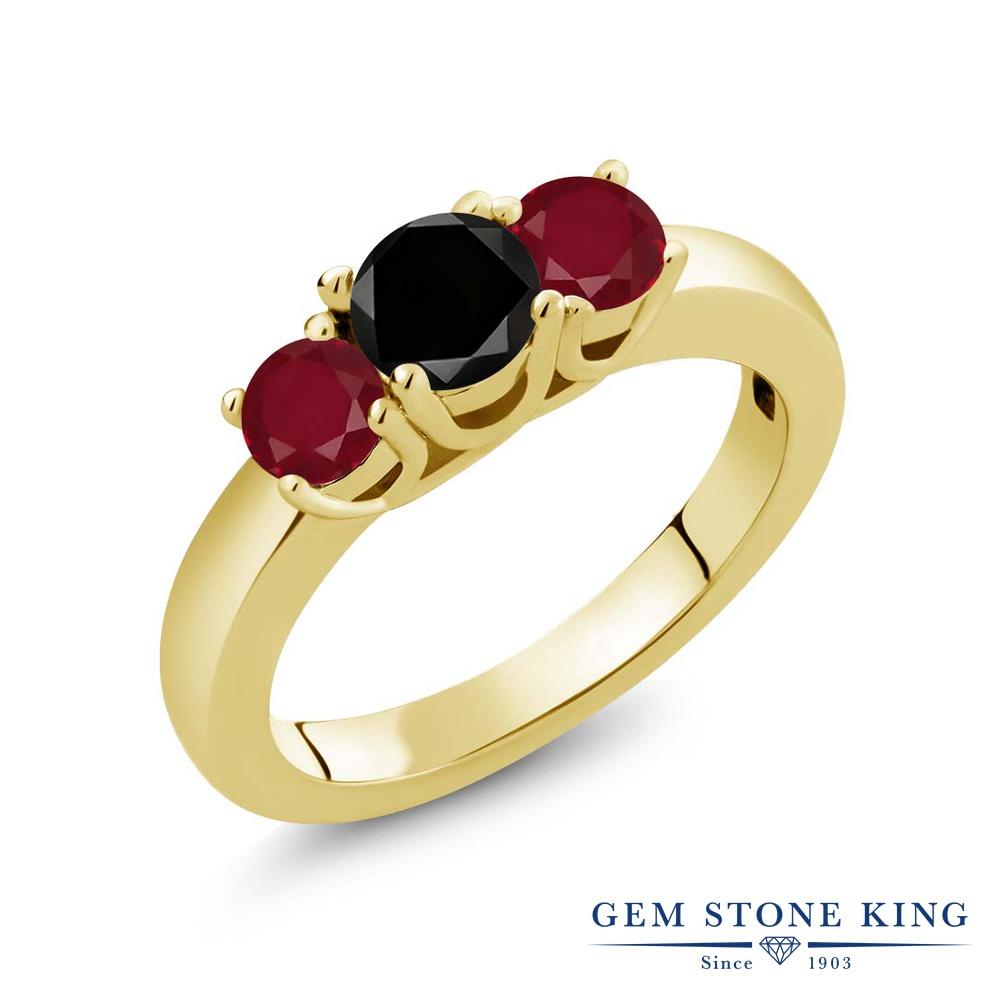 【10%OFF】 Gem Stone King 1.15カラット ブラックダイヤモンド 天然 ルビー 指輪 リング レディース シルバー925 イエローゴールド 加工 ブラック ダイヤ シンプル スリーストーン 天然石 4月 誕生石 クリスマスプレゼント 女性 彼女 妻 誕生日
