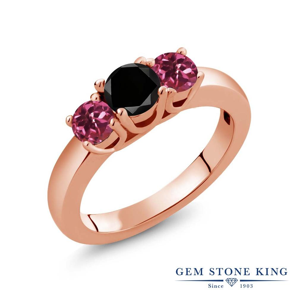 Gem Stone King 1.03カラット 天然ブラックダイヤモンド 天然 ピンクトルマリン シルバー925 ピンクゴールドコーティング 指輪 リング レディース ブラック ダイヤ シンプル スリーストーン 天然石 4月 誕生石 金属アレルギー対応 誕生日プレゼント