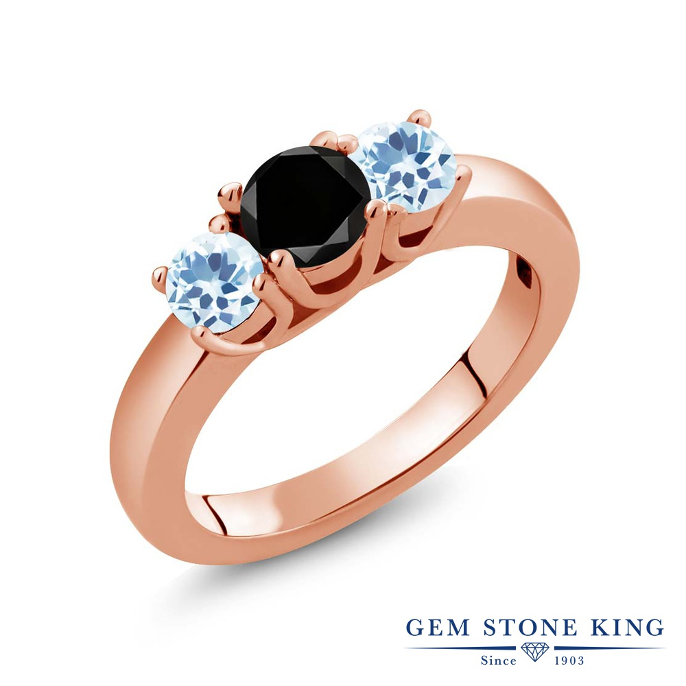 Gem Stone King 1.21カラット 天然ブラックダイヤモンド 天然 スカイブルートパーズ シルバー925 ピンクゴールドコーティング 指輪 リング レディース ブラック ダイヤ シンプル スリーストーン 天然石 4月 誕生石 金属アレルギー対応 誕生日プレゼント