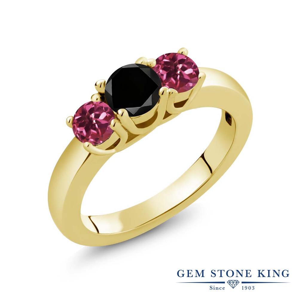 【10%OFF】 Gem Stone King 1.03カラット ブラックダイヤモンド 天然 ピンクトルマリン 指輪 リング レディース シルバー925 イエローゴールド 加工 ブラック ダイヤ シンプル スリーストーン 天然石 4月 誕生石 クリスマスプレゼント 女性 彼女 妻 誕生日