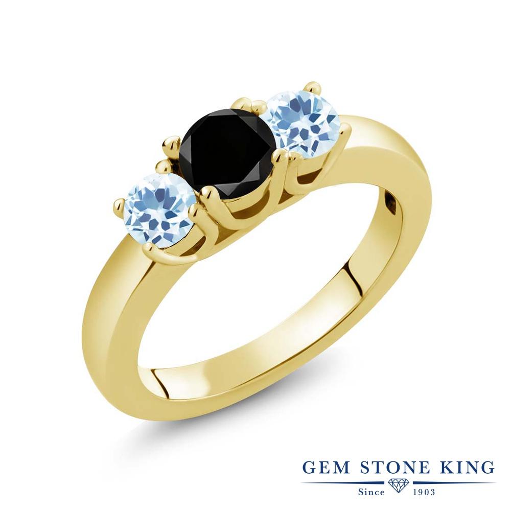 【10%OFF】 Gem Stone King 1.21カラット ブラックダイヤモンド 天然 スカイブルートパーズ 指輪 リング レディース シルバー925 イエローゴールド 加工 ブラック ダイヤ シンプル スリーストーン 天然石 4月 誕生石 クリスマスプレゼント 女性 彼女 妻 誕生日