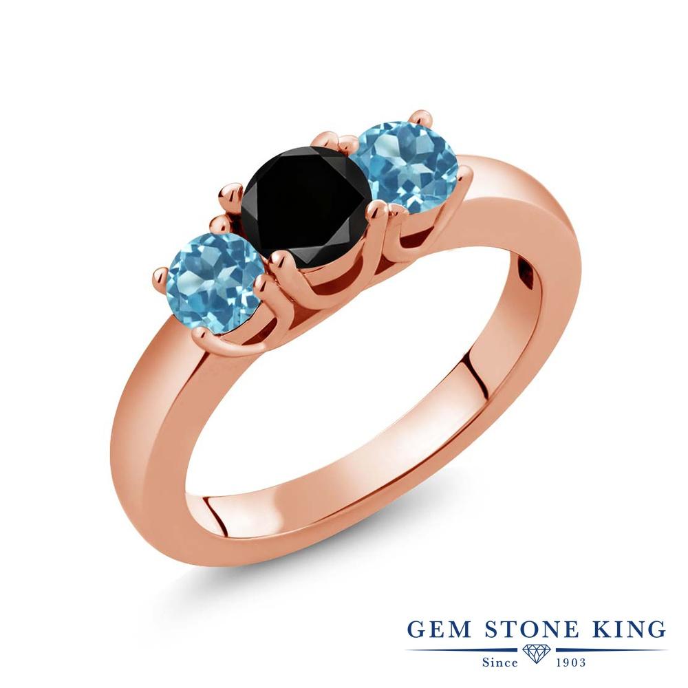 【10%OFF】 Gem Stone King 1.21カラット ブラックダイヤモンド 天然 スイスブルートパーズ 指輪 リング レディース シルバー925 ピンクゴールド 加工 ブラック ダイヤ シンプル スリーストーン 天然石 4月 誕生石 クリスマスプレゼント 女性 彼女 妻 誕生日