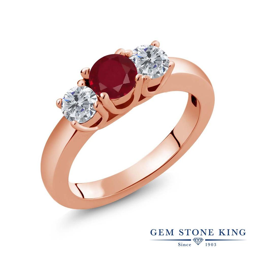 1.05カラット 天然 ルビー 指輪 レディース リング ダイヤモンド ピンクゴールド 加工 シルバー925 ブランド おしゃれ 3連 赤 シンプル スリーストーン 天然石 7月 誕生石 プレゼント 女性 彼女 妻 誕生日