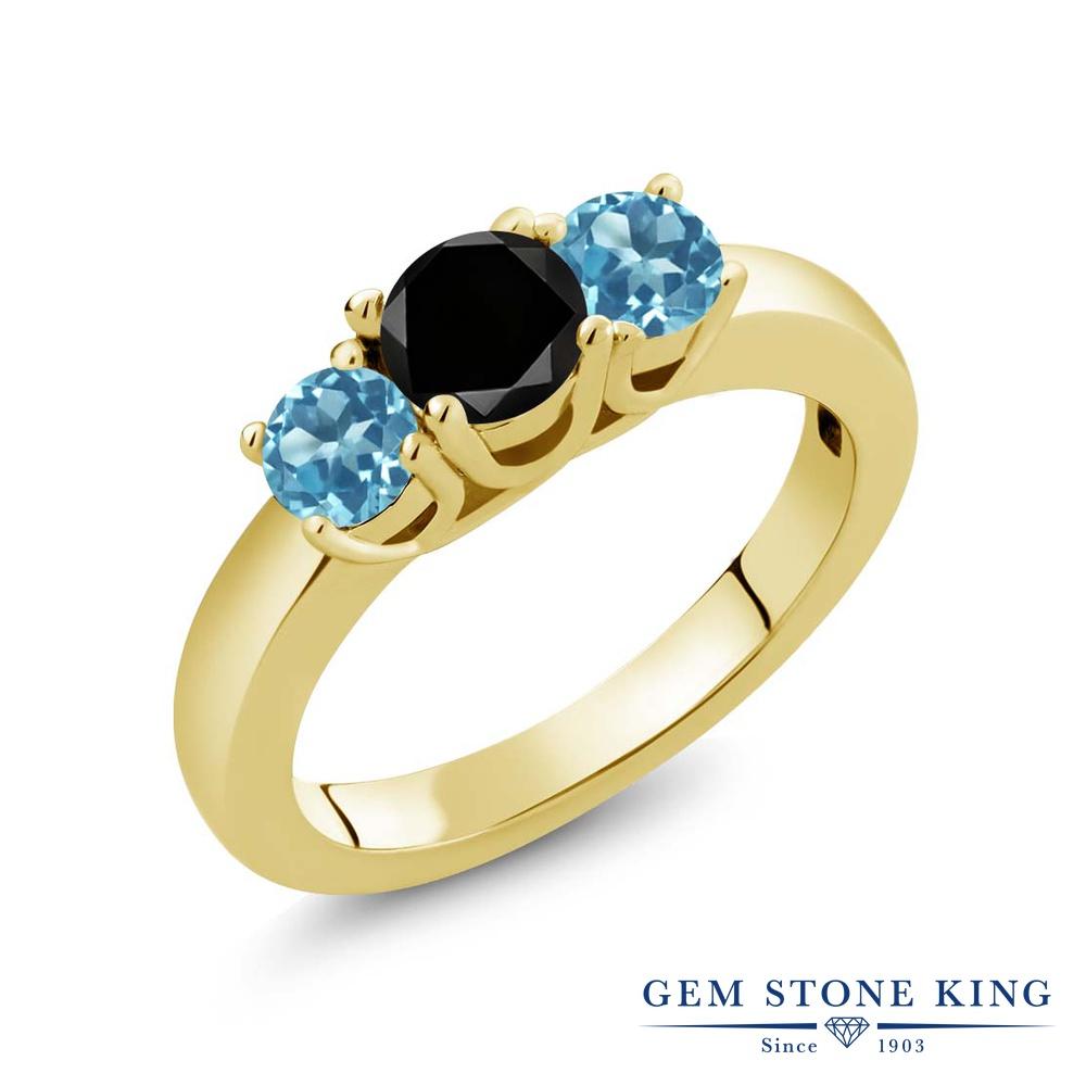 【10%OFF】 Gem Stone King 1.21カラット ブラックダイヤモンド 天然 スイスブルートパーズ 指輪 リング レディース シルバー925 イエローゴールド 加工 ブラック ダイヤ シンプル スリーストーン 天然石 4月 誕生石 クリスマスプレゼント 女性 彼女 妻 誕生日