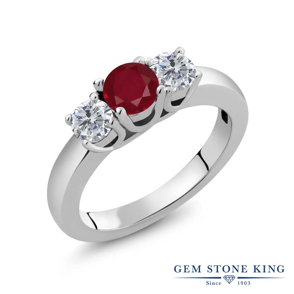 1.05カラット 天然 ルビー 指輪 レディース リング ダイヤモンド シルバー925 ブランド おしゃれ 3連 赤 シンプル スリーストーン 天然石 7月 誕生石 プレゼント 女性 彼女 妻 誕生日