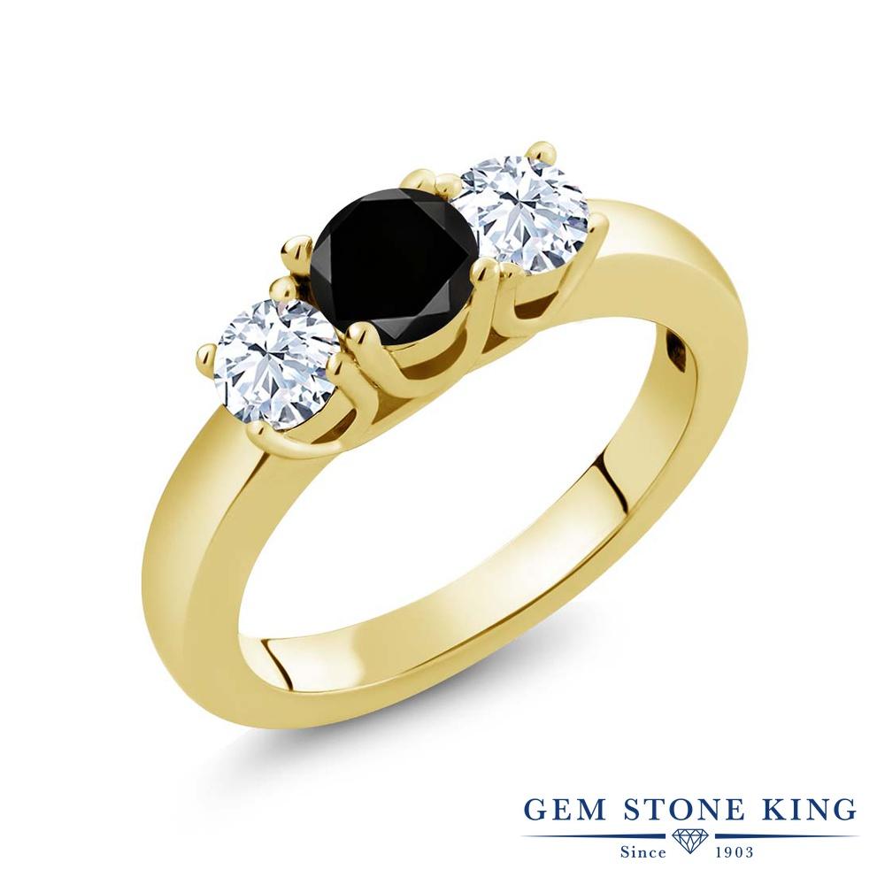 1.21カラット ブラックダイヤモンド 指輪 レディース リング 天然 トパーズ イエローゴールド 加工 シルバー925 ブランド おしゃれ 3連 ブラック ダイヤ 黒 シンプル スリーストーン 天然石 4月 誕生石 プレゼント 女性 彼女 妻 誕生日
