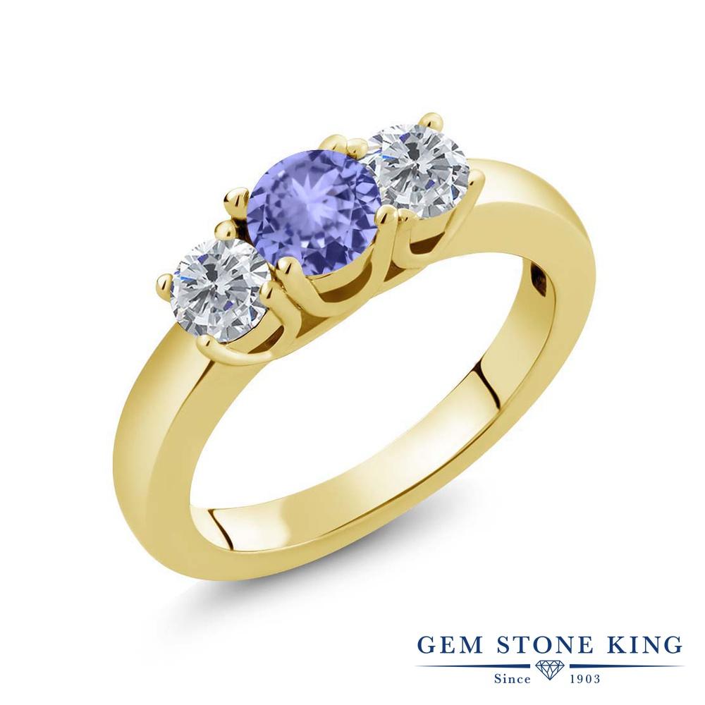 0.96カラット 天然石 タンザナイト 指輪 レディース リング 天然 ダイヤモンド イエローゴールド 加工 シルバー925 ブランド おしゃれ 3連 青 小粒 シンプル スリーストーン 12月 誕生石 プレゼント 女性 彼女 妻 誕生日