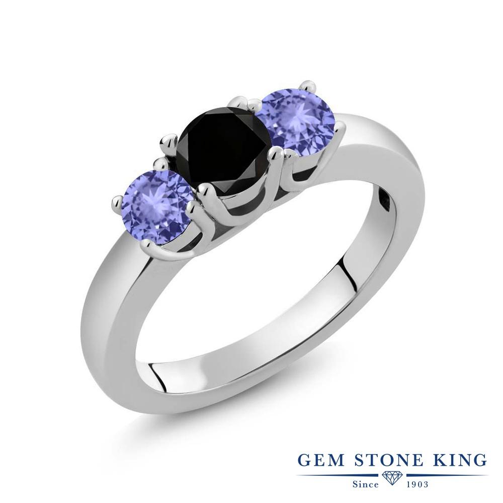 【10%OFF】 Gem Stone King 1.15カラット ブラックダイヤモンド 天然石 タンザナイト 指輪 リング レディース シルバー925 ブラック ダイヤ シンプル スリーストーン 4月 誕生石 クリスマスプレゼント 女性 彼女 妻 誕生日