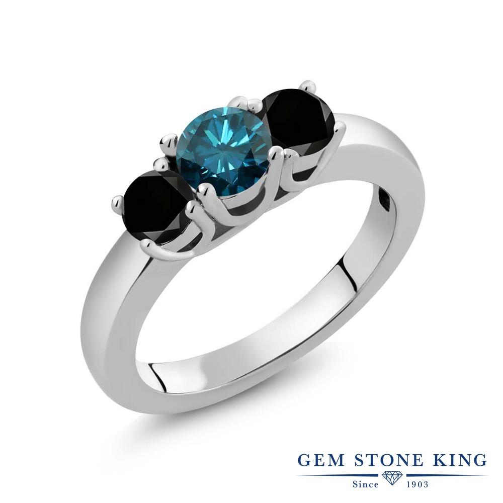 Gem Stone King 1.09カラット 天然 ブルーダイヤモンド シルバー925 指輪 リング レディース ブルー ダイヤ シンプル スリーストーン 天然石 4月 誕生石 金属アレルギー対応 誕生日プレゼント