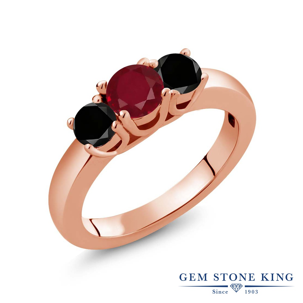 Gem Stone King 1.09カラット 天然 ルビー 天然ブラックダイヤモンド シルバー925 ピンクゴールドコーティング 指輪 リング レディース シンプル スリーストーン 天然石 7月 誕生石 金属アレルギー対応 誕生日プレゼント