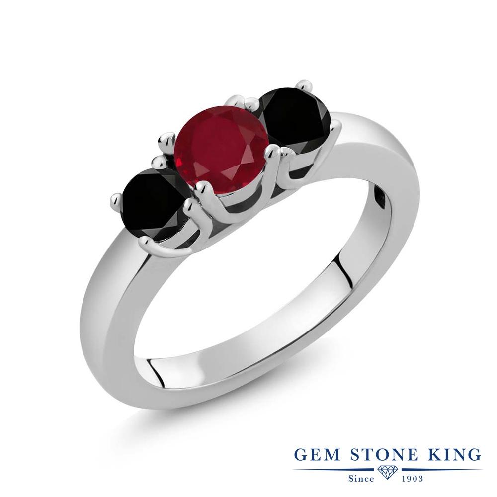 【10%OFF】 Gem Stone King 1.09カラット 天然 ルビー ブラックダイヤモンド 指輪 リング レディース シルバー925 シンプル スリーストーン 天然石 7月 誕生石 クリスマスプレゼント 女性 彼女 妻 誕生日