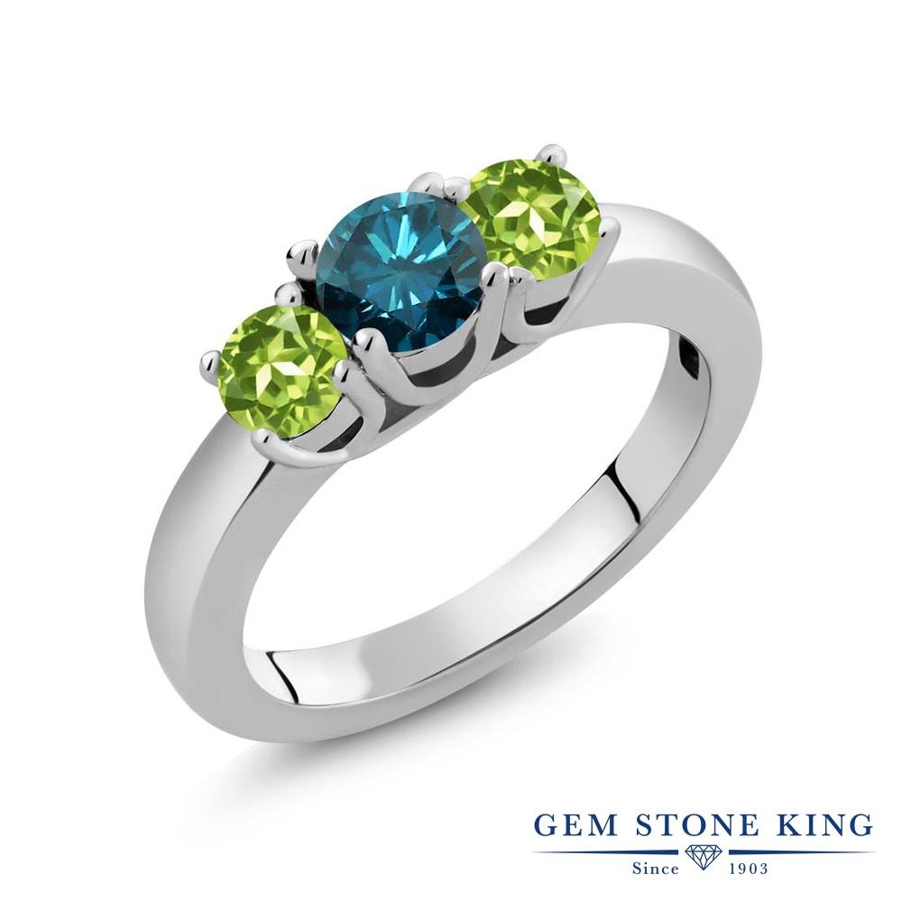 Gem Stone King 1.15カラット 天然 ブルーダイヤモンド 天然石 ペリドット シルバー925 指輪 リング レディース ブルー ダイヤ シンプル スリーストーン 4月 誕生石 金属アレルギー対応 誕生日プレゼント