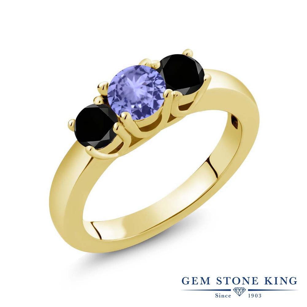 【10%OFF】 Gem Stone King 1カラット 天然石 タンザナイト ブラックダイヤモンド 指輪 リング レディース シルバー925 イエローゴールド 加工 小粒 シンプル スリーストーン 12月 誕生石 クリスマスプレゼント 女性 彼女 妻 誕生日