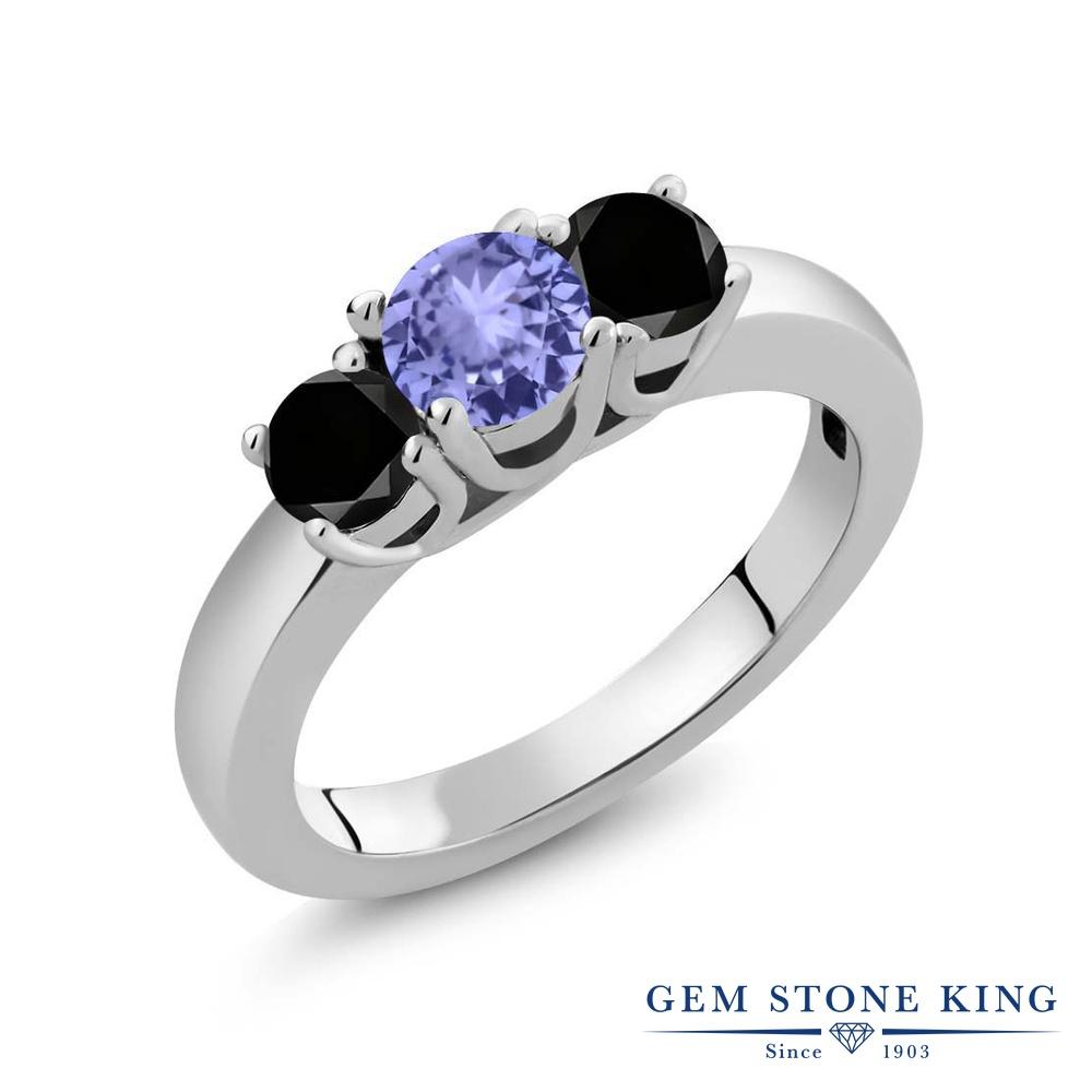 1カラット 天然石 タンザナイト 指輪 レディース リング ブラックダイヤモンド シルバー925 ブランド おしゃれ 3連 青 小粒 シンプル スリーストーン 12月 誕生石 プレゼント 女性 彼女 妻 誕生日