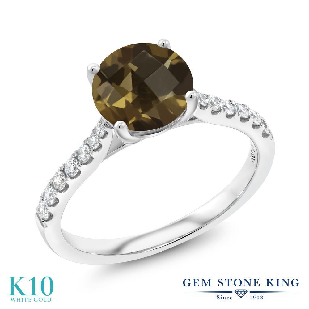 Gem Stone King 1.87カラット 天然 スモーキークォーツ (ブラウン) 合成ダイヤモンド 10金 ホワイトゴールド(K10) 指輪 リング レディース 大粒 天然石 金属アレルギー対応 誕生日プレゼント