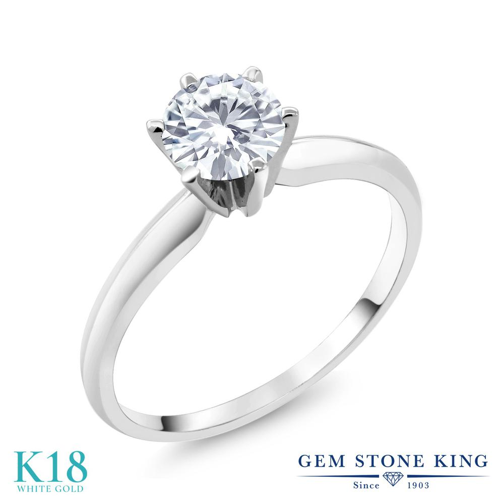 Gem Stone King 0.8カラット Forever One DEF 18金 ホワイトゴールド(K18) 指輪 リング レディース モアサナイト 一粒 シンプル ソリティア 金属アレルギー対応 誕生日プレゼント