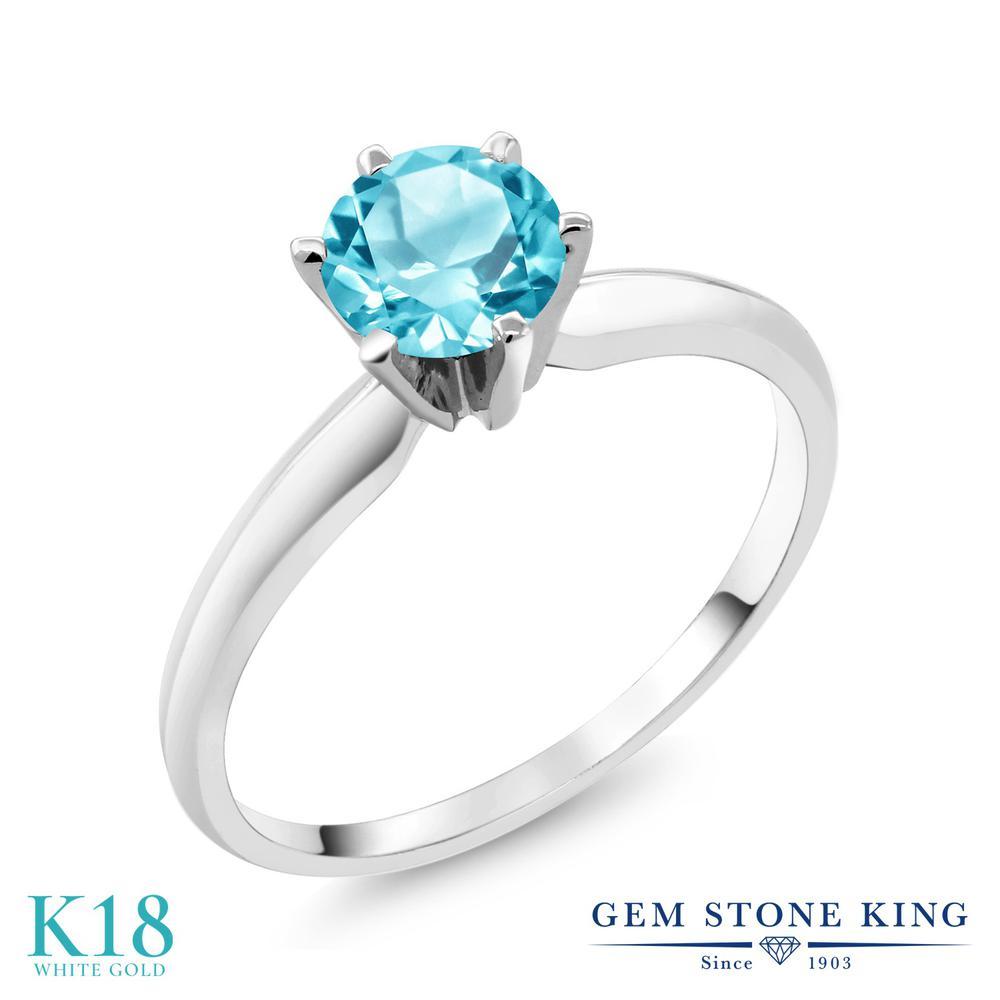 【クーポンで10%OFF】 Gem Stone King 0.9カラット 天然 スイスブルートパーズ 18金 ホワイトゴールド(K18) 指輪 リング レディース 一粒 シンプル ソリティア 天然石 11月 誕生石 金属アレルギー対応 誕生日プレゼント