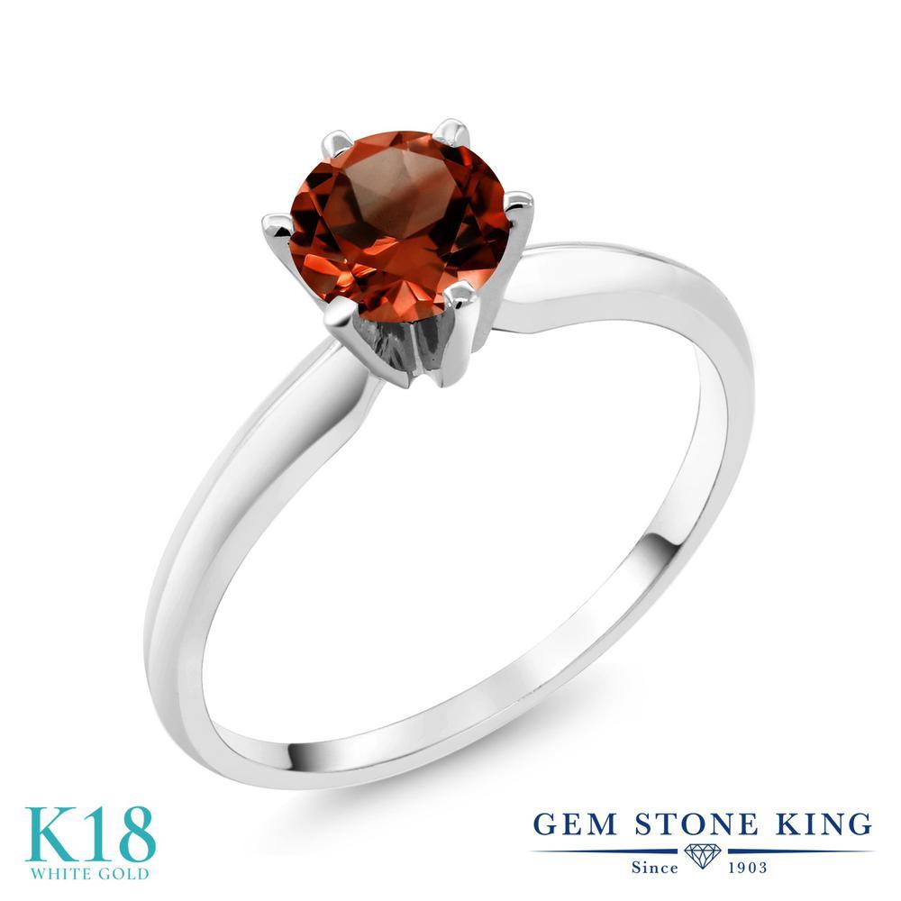【クーポンで10%OFF】 Gem Stone King 1カラット 天然 ガーネット 18金 ホワイトゴールド(K18) 指輪 リング レディース 大粒 一粒 シンプル ソリティア 天然石 1月 誕生石 金属アレルギー対応 誕生日プレゼント