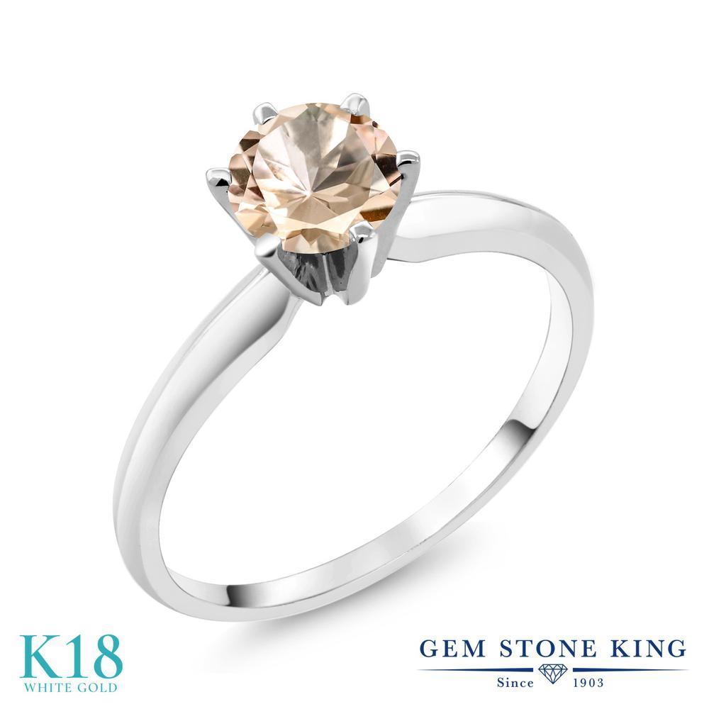0.6カラット 天然 モルガナイト (ピーチ) 指輪 レディース リング 18金 ホワイトゴールド K18 ブランド おしゃれ 一粒 シンプル ソリティア 天然石 3月 誕生石 婚約指輪 エンゲージリング