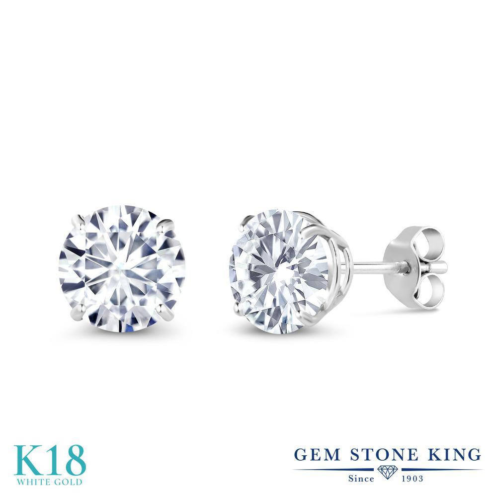 Gem Stone King 2カラット Forever One DEF 18金 ホワイトゴールド(K18) ピアス レディース モアサナイト 大粒 シンプル スタッド 金属アレルギー対応 誕生日プレゼント