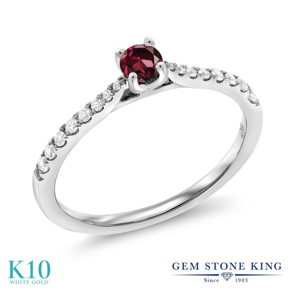 Gem Stone King 0.3カラット 天然 ロードライトガーネット 合成ダイヤモンド 10金 ホワイトゴールド(K10) 指輪 リング レディース 小粒 ソリティア 華奢 細身 天然石 金属アレルギー対応 誕生日プレゼント