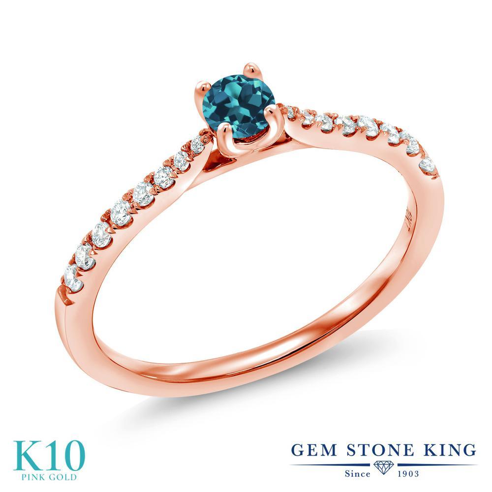 Gem Stone King 0.28カラット 天然 ロンドンブルートパーズ 合成ダイヤモンド 10金 ピンクゴールド(K10) 指輪 リング レディース 小粒 ソリティア 華奢 細身 天然石 11月 誕生石 金属アレルギー対応 誕生日プレゼント
