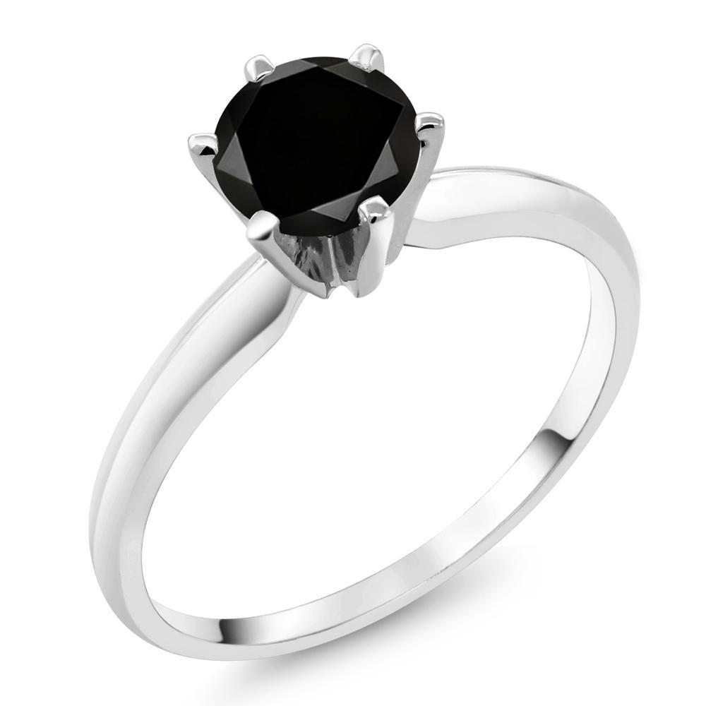 クリスマスプレゼント 指輪 リング 1.10カラット 天然ブラックダイヤモンド 18金 ホワイトゴールド(K18)
