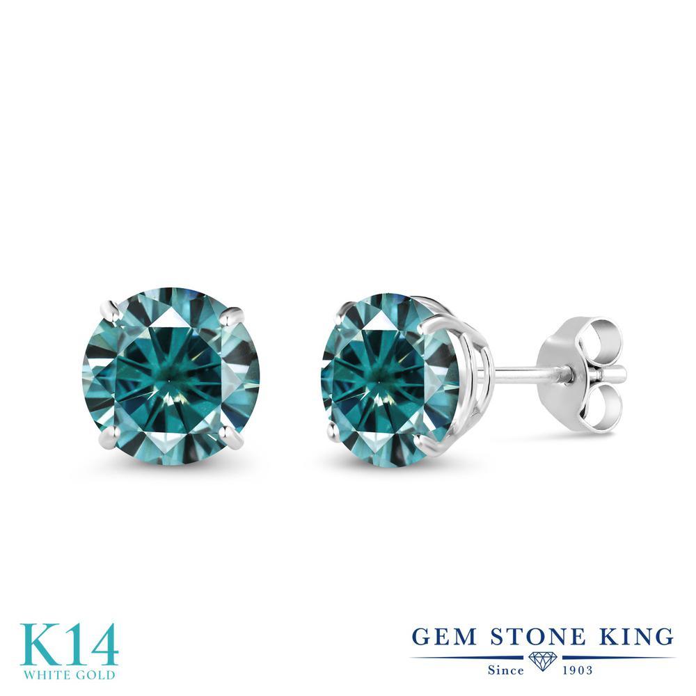 Gem Stone King 2カラット ブルー モアサナイト Charles & Colvard 14金 ホワイトゴールド(K14) ピアス レディース モアッサナイト 大粒 シンプル スタッド 金属アレルギー対応 誕生日プレゼント