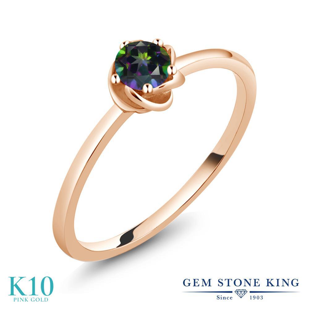Gem Stone King 0.4カラット 天然石 ミスティックトパーズ (グリーン) 10金 ピンクゴールド(K10) 指輪 リング レディース 小粒 一粒 シンプル ソリティア 天然石 金属アレルギー対応 誕生日プレゼント