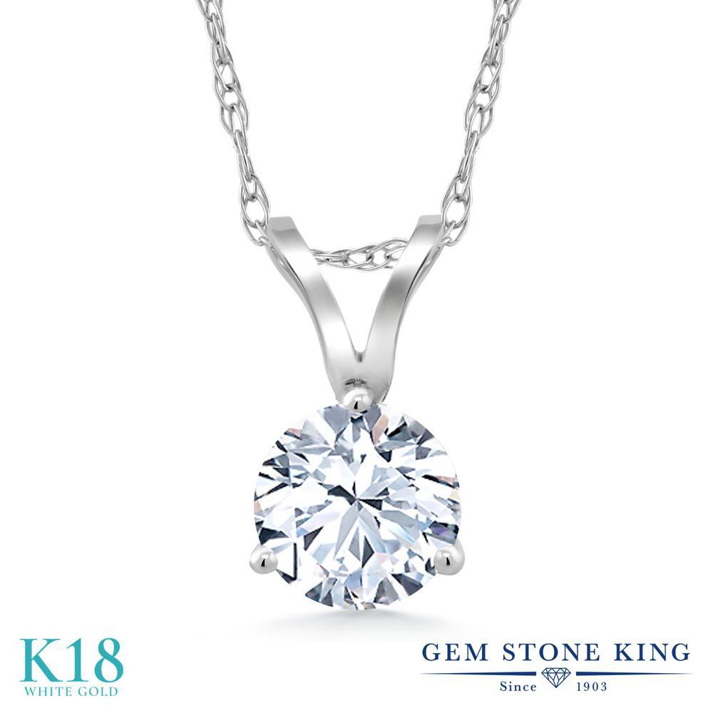 Gem Stone King ジルコニア (無色透明) 18金 ホワイトゴールド(K18) ネックレス ペンダント レディース CZ 一粒 シンプル 金属アレルギー対応 誕生日プレゼント