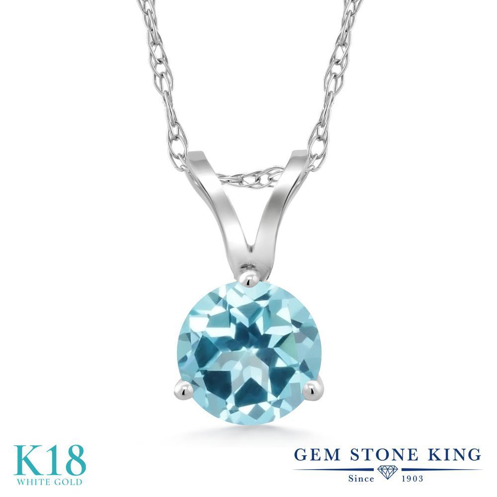 Gem Stone King 0.62カラット 天然石 アイスブルートパーズ (スワロフスキー 天然石シリーズ) 18金 ホワイトゴールド(K18) ネックレス ペンダント レディース 一粒 シンプル 天然石 金属アレルギー対応 誕生日プレゼント