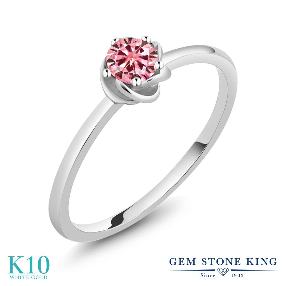 Gem Stone King 0.1カラット ピンク モアサナイト Charles & Colvard 10金 ホワイトゴールド(K10) 指輪 リング レディース モアッサナイト 小粒 一粒 シンプル ソリティア 華奢 細身 金属アレルギー対応 誕生日プレゼント