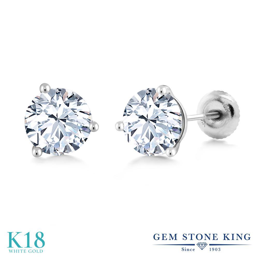 Gem Stone King ジルコニア (無色透明) 18金 ホワイトゴールド(K18) ピアス レディース CZ 大粒 シンプル スタッド スクリュー 金属アレルギー対応 誕生日プレゼント