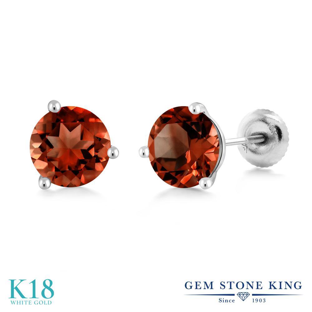 Gem Stone King 2カラット 天然 ガーネット 18金 ホワイトゴールド(K18) ピアス レディース 大粒 シンプル スタッド スクリュー 天然石 1月 誕生石 金属アレルギー対応 誕生日プレゼント