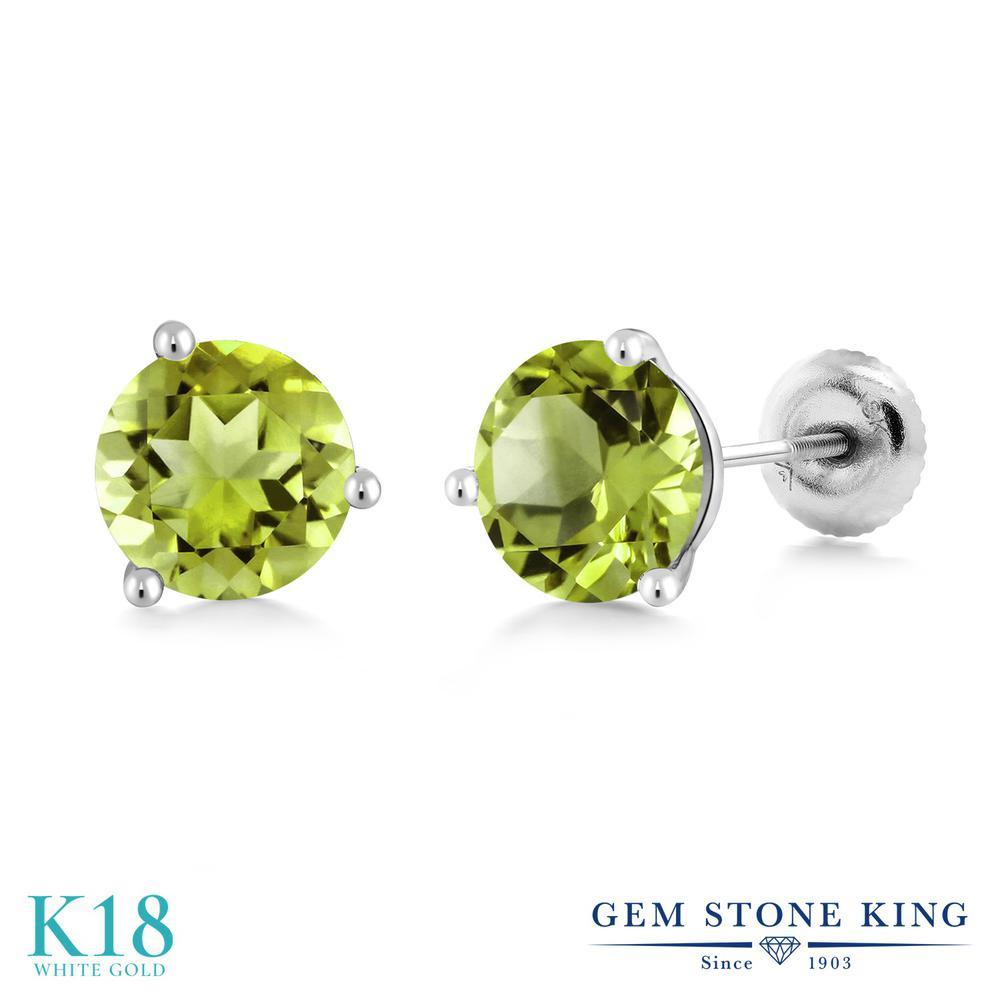 Gem Stone King 2カラット 天然石 ペリドット 18金 ホワイトゴールド(K18) ピアス レディース 大粒 シンプル スタッド スクリュー 天然石 8月 誕生石 金属アレルギー対応 誕生日プレゼント