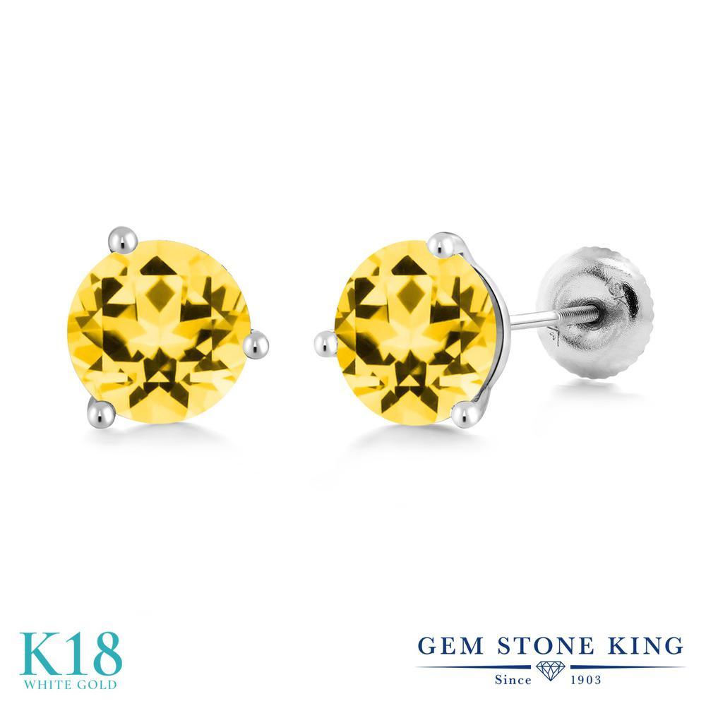 Gem Stone King 2カラット 天然石 トパーズ ハニースワロフスキー 18金 ホワイトゴールド(K18) ピアス レディース 大粒 シンプル スタッド スクリュー 天然石 金属アレルギー対応 誕生日プレゼント