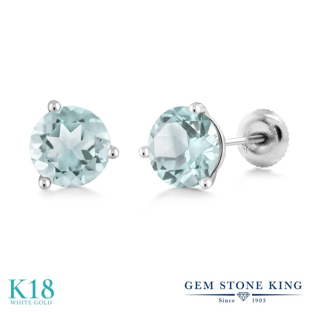 Gem Stone King 1.8カラット 天然 スカイブルートパーズ 18金 ホワイトゴールド(K18) ピアス レディース シンプル スタッド スクリュー 天然石 11月 誕生石 金属アレルギー対応 誕生日プレゼント