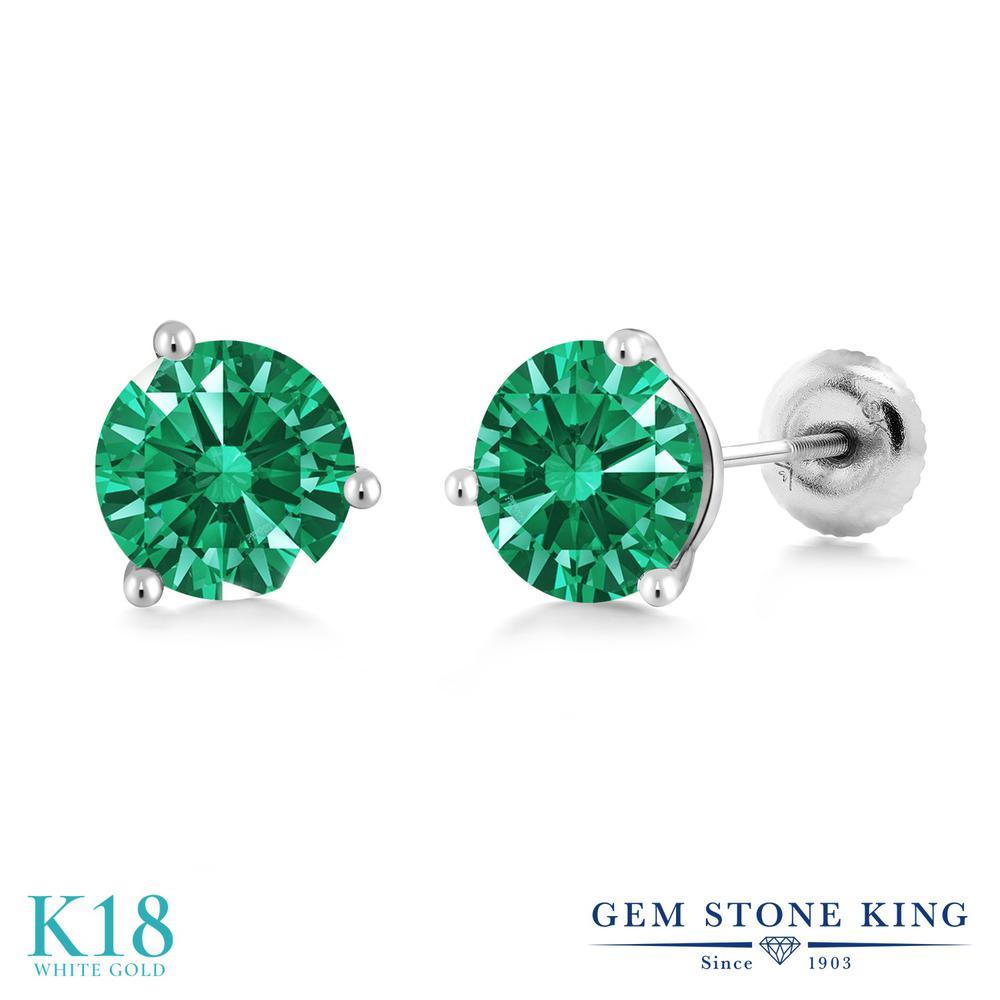 Gem Stone King スワロフスキージルコニア (グリーン) 18金 ホワイトゴールド(K18) ピアス レディース CZ シンプル スタッド スクリュー 金属アレルギー対応 誕生日プレゼント