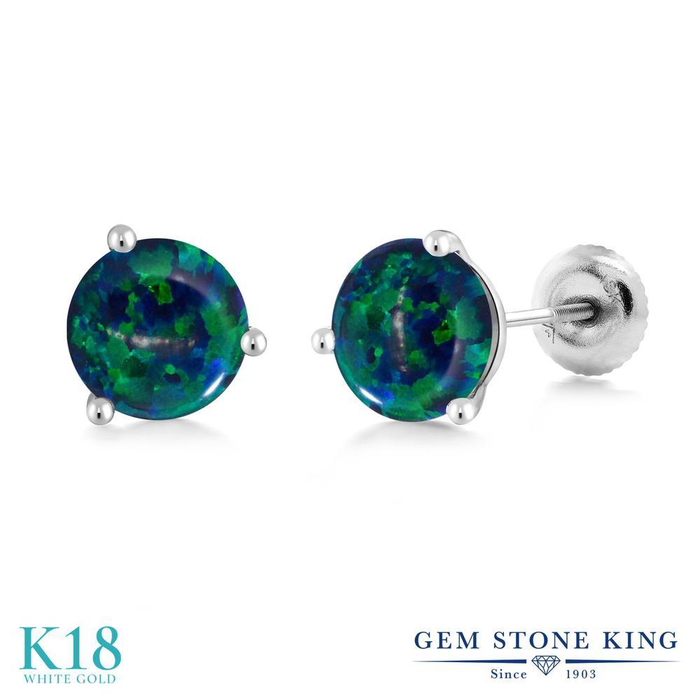 Gem Stone King 1.5カラット シミュレイテッド グリーンオパール 18金 ホワイトゴールド(K18) ピアス レディース シンプル スタッド スクリュー 10月 誕生石 金属アレルギー対応 誕生日プレゼント